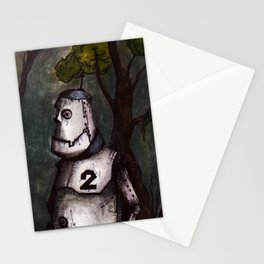 A robot lost in the woods Stationery Cards