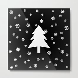 Snowy - black - more colors Metal Print