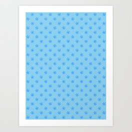Brandeis Blue on Baby Blue Snowflakes Art Print