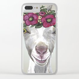 Flower Crown Goat Tan, Cute Goat Painting Clear iPhone Case
