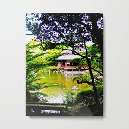 Japanese garden and tea house Metal Print