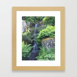 Kubota Garden waterfall Framed Art Print