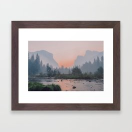 Yosemite Valley Sunrise Pretty Pink Framed Art Print