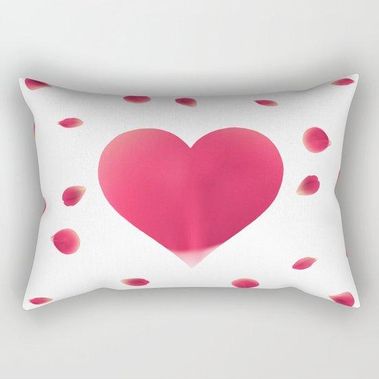 Rose Petal Heart Rectangular Pillow
