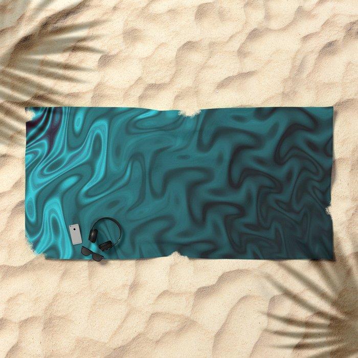 Ripples Fractal in Ocean Blue Beach Towel