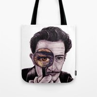 dali Tote Bags featuring Dali by ShesCrafty