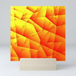 Bright pattern of red and yellow triangles and irregularly shaped lines. Mini Art Print