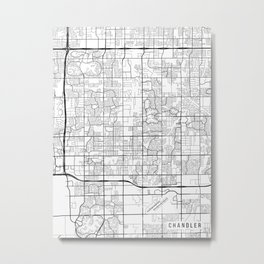Chandler Map, Arizona USA - Black & White Portrait Metal Print