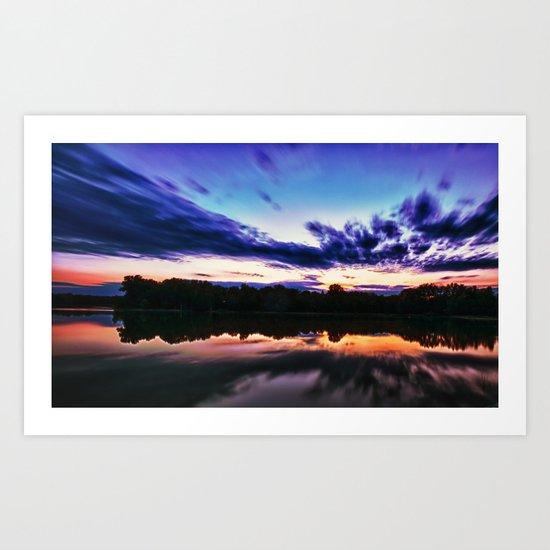 Sunset on Alum Creek Galena, Oh. Art Print