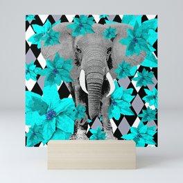 ELEPHANT and HARLEQUIN BLUE AND GRAY Mini Art Print