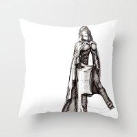 jedi Throw Pillows featuring Grey Jedi by Margret Stewart