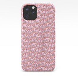 'Pray' Trendy Rainbow Text Pattern (Pink) iPhone Case