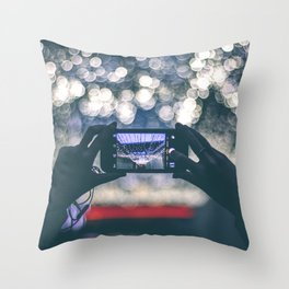 Woman Holding Phone To Capture Picture Throw Pillow