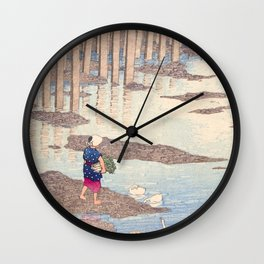 Japanese Woodblock - The Gion bridge at Hondo in Amakusa Wall Clock