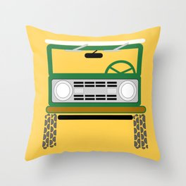 Off Road Green/Yellow Throw Pillow