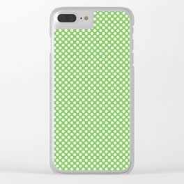 Green Flash and White Polka Dots Clear iPhone Case