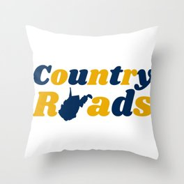 Country Roads West Virginia State Map WV Retro Gifts Throw Pillow