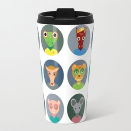 Chinese zodiac collection, Set of animals faces circle icons in Trendy Flat Style Travel Mug