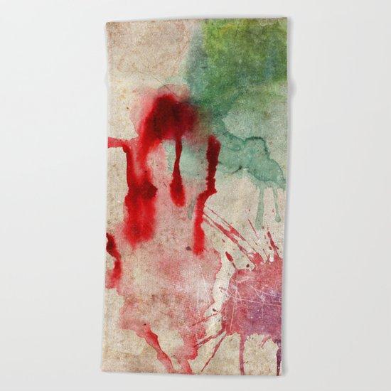 Green & Red Color Splash Beach Towel