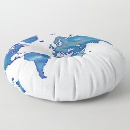 Blue World Map 01 Floor Pillow
