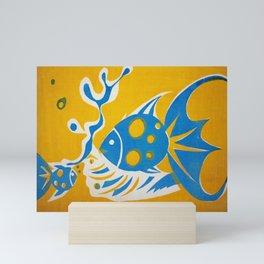 Screenprint Gold and Fish Mini Art Print