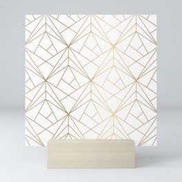 Geometric Gold Pattern With White Shimmer Mini Art Print