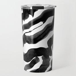 Bold Ink Stripes in Black and White Travel Mug