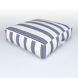 Blue- White- Stripe - Stripes - Marine - Maritime - Navy - Sea - Beach - Summer - Sailor Outdoor Floor Cushion