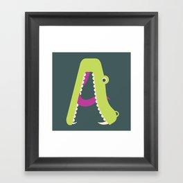 Letter A // Animal Alphabet // Alligator Monogram Framed Art Print