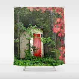 The Red Outhouse Door Shower Curtain