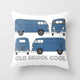 old skool cool – vintage commercial panel van in Dove Blue Throw Pillow