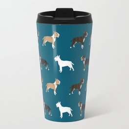 Bull Terrier dog breed cute custom pet portrait pattern all coat colors Travel Mug