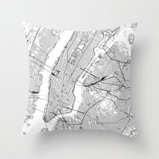 New York City White Map Throw Pillow