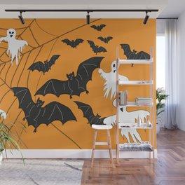 Flying Ghosts & Bats Halloween orange Wall Mural