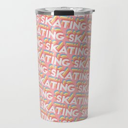 Skating Trendy Rainbow Text Pattern (Pink) Travel Mug