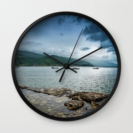Lake, Mountains, and Clouds Wall Clock