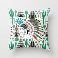 headdress Throw Pillows featuring Headdress by Vannina
