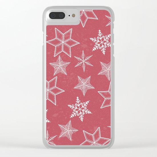 Snowflakes On Pastel Red Background Clear iPhone Case