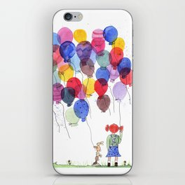 girl with balloons whimsical watercolor illustration iPhone Skin