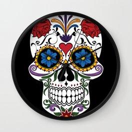 Colorful Sugar Skull Wall Clock