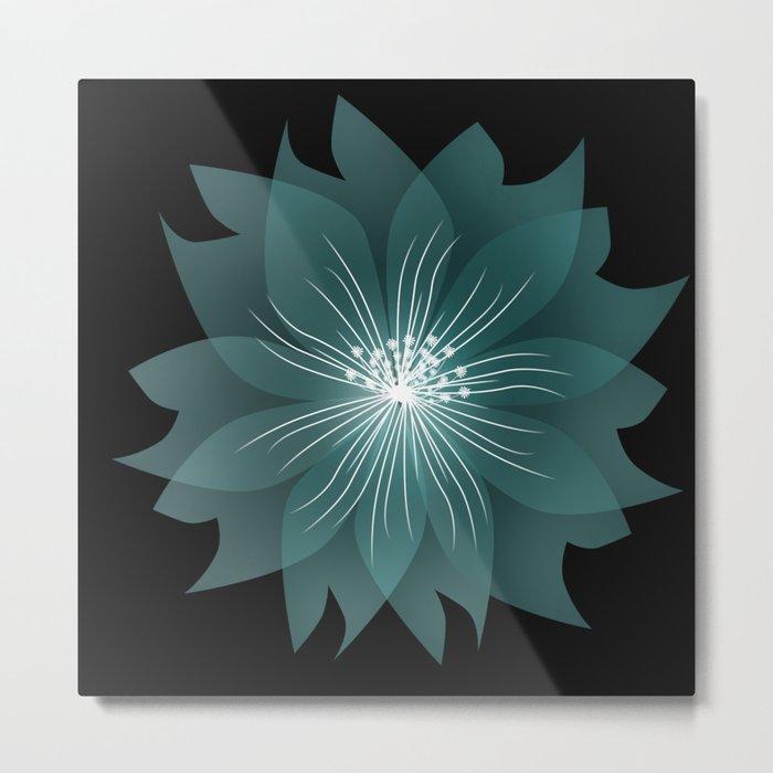 Blue flower on a black background .  Metal Print