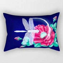 Full bloom | Dragonfly loves roses Rectangular Pillow