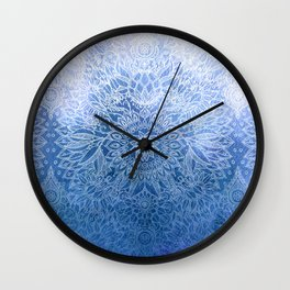 Enchanted Indigo - watercolor + doodle Wall Clock
