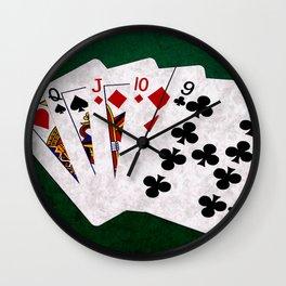 Poker Hand Straight King Queen Jack Ten Nine Wall Clock