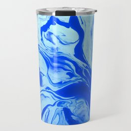 Teal watercolor marble Travel Mug