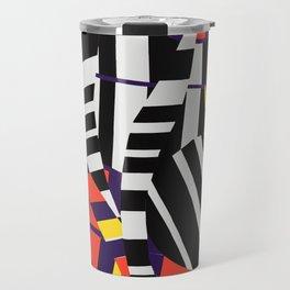 Black & White Stripes with Purple & Yellow Travel Mug