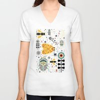 bugs V-neck T-shirts featuring Midnight Bugs  by Carly Watts