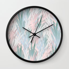 Tropical pastel leaves Wall Clock