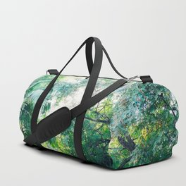 Lost in the jungle bright green tropical palm tree forest photography Duffle Bag