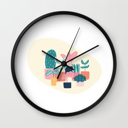 Cute House Plant  Wall Clock